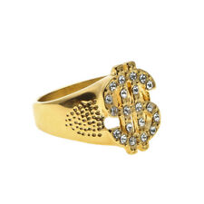 NEW $99 18k Gold Gp Simulate Diamond Iced Out Hiphop Mens Dollar Symbol Ring