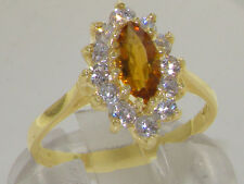 Solid 9ct Yellow Gold Natural Citrine & Diamond Traditional Cluster Ring