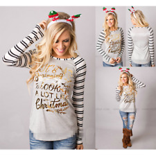 Women Long Sleeve Crew Neck Striped T-shirt Casual Tops Christmas Tee Plus Size