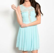 Sky Blue Sheer Romantic Floral Print Lace Trim Fit Flare Ruffle Pleated Dress