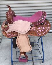 "17"" New Leather Rought Out Pleasure Western Saddle With Pink Inlay&Seat-FQHB"