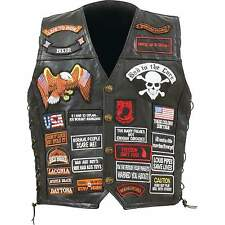 Man's Genuine Buffalo Leather Motorcycle Vest with 42 Patches by Diamond Plate™
