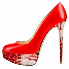Women Skinny Heel High Heels Rose Platform Pumps Round Toe Wedding Red Stilettos