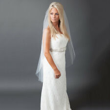 1T White Ivory Cathedral Wedding Bridal Cut/Raw Veil ++