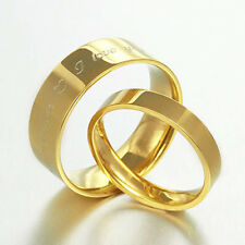 Free Engrave Gold Filled Flat Comfort Fit Wedding Titanium Rings Bands Set 057EE