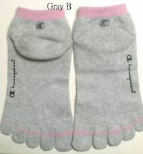 3p Women's Champion Sock Athletic Terry Five Finger 5 Toe Low Cut Trainer Gray