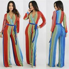 Colorful Striped Wide Leg Rompers