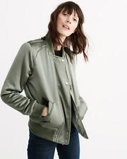 Abercrombie & Fitch Jacket Women's Easy Fit Satin Bomber Jacket M Olive NEW