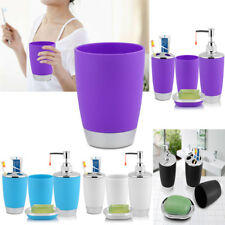 4x Bathroom Accessories Set Cup Toothbrush Holder Soap Dish Dispenser Bottle BT