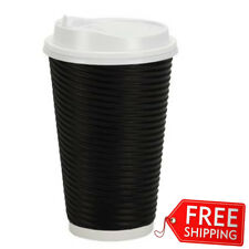 Disposable Hot Paper Cups With Lids Double Wall Ripple Insulation 30 Count 16 oz