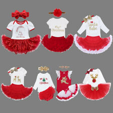 Baby Toddler Girls 1st Christmas Clothes Xmas Romper Tutu Dress Headband Outfits