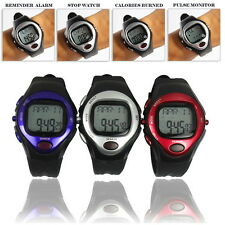 Pulse Heart Rate Monitor Calories Counter Fitness Watch Time StopWatch Alarm LS