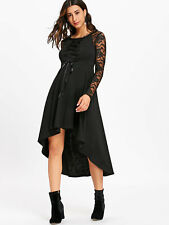 Lady Women Dress Lace Up High Low Hem Evening Party Mid-Calf Dress Long Sleeve