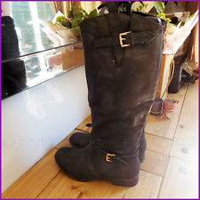 Womans Black Knee High Boots Faux soft Metalic Leather Lined Riding Ladies Boot