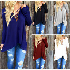 Women Ladies Long Sleeve V Neck Plunge Lace Up Casual Loose Blouse T-Shirt Tops