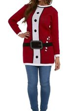 🎅New Womens Christmas Knitted Long Sleeve Novelty Jumper Dress Tunic Sweater🎅
