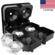 4 shape Ice Maker Diamond Shape Tray Mold Cube Cocktails Silicone For Whiskey US