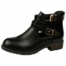 WOMENS ANKLE BOOTS LADIES SHOES BUCKLE BIKER CUT OUT CHELSEA STRAPPY STYLE SIZE