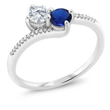0.64 Ct White Created Moissanite Blue Simulated Sapphire 10K White Gold Ring