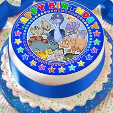 DINOSAUR BLUE CAKE TOPPER PRECUT DECORATION EDIBLE HAPPY BIRTHDAY