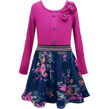 Big Girl Tween 7-16 Navy/Pink Long Sleeve Knit to Floral Chiffon Dress, Truly Me