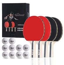 Upstreet Box Set 4 Ping Pong Paddles with 3 Star Balls for Table Tennis Indoor