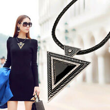 Big Pendant Triangle Fashion Gift Gemstone Rope Leather Style Statement Necklace