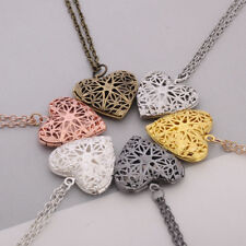 Locket Necklace Pendant Hollow Heart Valentines Gift Women Trendy Chain Choker