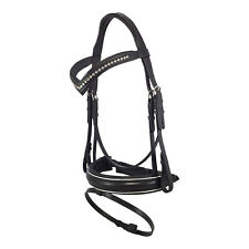 NEW Black Leather English HORSE BRIDLE Padded with Flash and Reins V COB FULL