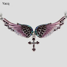 Necklace Angel Cross Wing Fashion Choker Women Crystal Antique Christmas Gift