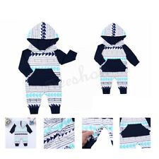 Infant Baby Boys Girls Long Sleeves Geometric Hooded Romper Jumpsuit
