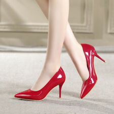 Womens High Heel Pointed Toe Patent Leather Pumps Party Shoes AU Plus Size 2-13