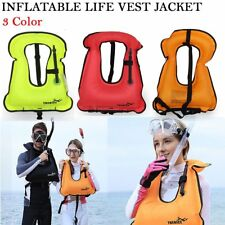 Adult Kid Life Jacket Snorkeling Gear Swimwear Oral Inflation Inflatable Vest LN