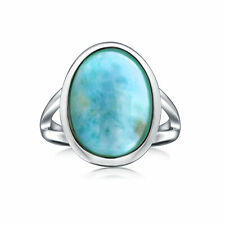 Bling Jewelry 925 Sterling Silver Natural Larimar Oval Ring