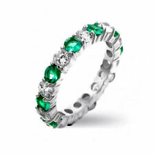 Bling Jewelry CZ Green Simulated Emerald Stackable Sterling Silver Eternity Band
