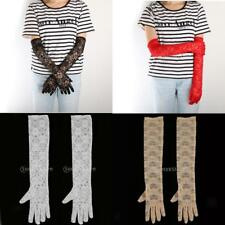 Retro Victorian Stretch Lace Gloves Opera Length Wedding Bridal Accessories