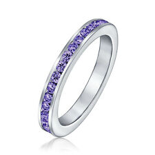 Bling Jewelry 925 Sterling Silver White and Simulated Sapphire CZ Eternity Ring