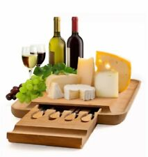 Cheese Board Set Wooden Serving Platter Cutting Tools Cutlery Hidden Drawer Tray
