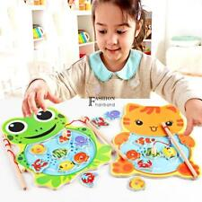 Baby Wooden Fishing Game Magnetic Puzzle Board Kids Jigsaw Puzzle FNHB