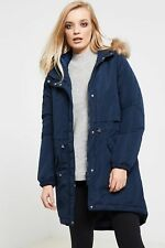 Vero Moda Womens Parka Jacket with Drawstring Waist and Faux Fur Hood