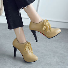 Womens Block High Heel Lace Up Platform Synthetic Leather Pumps Shoes AU 2-11