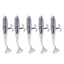 5 x Soft Lure Fishing Tackle Bait Lead Head 3D Eyes Bass Trout Shad Baits