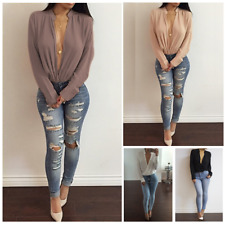 Women Ladies Long Sleeve Deep V Neck Chiffon Blouse Casual Loose T-Shirts Tops