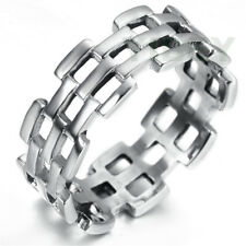 Mens Women Stainless Steel Cast Special Ring Hollow Openwork Chain Links Biker