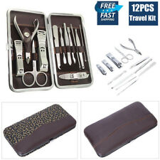 12PCS Stainless Nail Clippers Manicure Set Pedicure Scissors Grooming Tool Kit