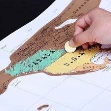 Deluxe Travel Scratch Off World Map Poster Personalized Journal Log Gift New CU