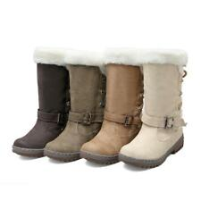 Ladies Womens Winter Snow Boots Faux Fur Warm Casual Calf Shoe Size OSQ-109-1