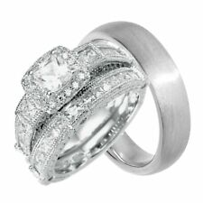 His and Hers Wedding Ring Set Sterling Silver Wedding Bands for Him Her