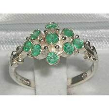 Unusual Solid 925 Sterling Silver Natural Emerald Ring with English Hallmarks