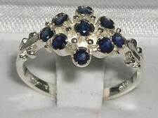 Unusual Solid 925 Sterling Silver Natural Sapphire Ring with English Hallmarks